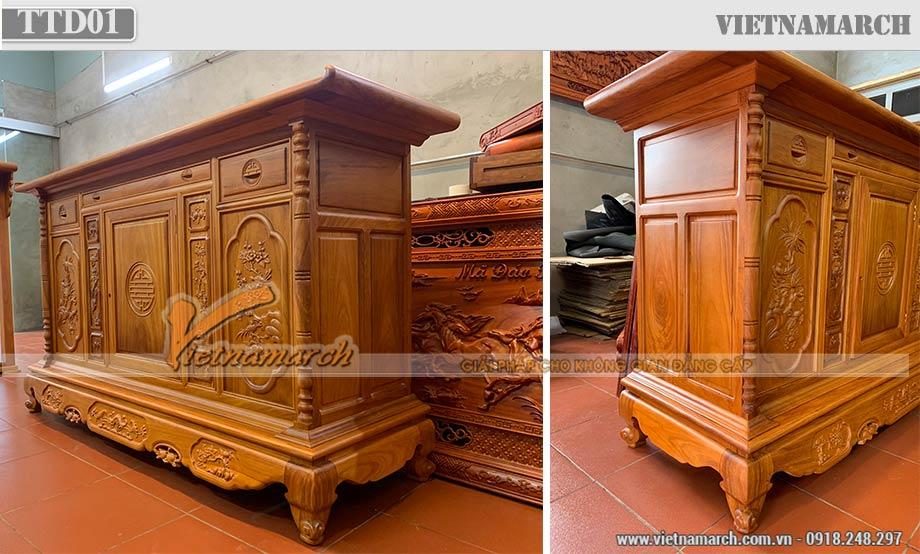Mẫu tủ thờ gỗ sồi sơn màu cánh gián cho chung cư