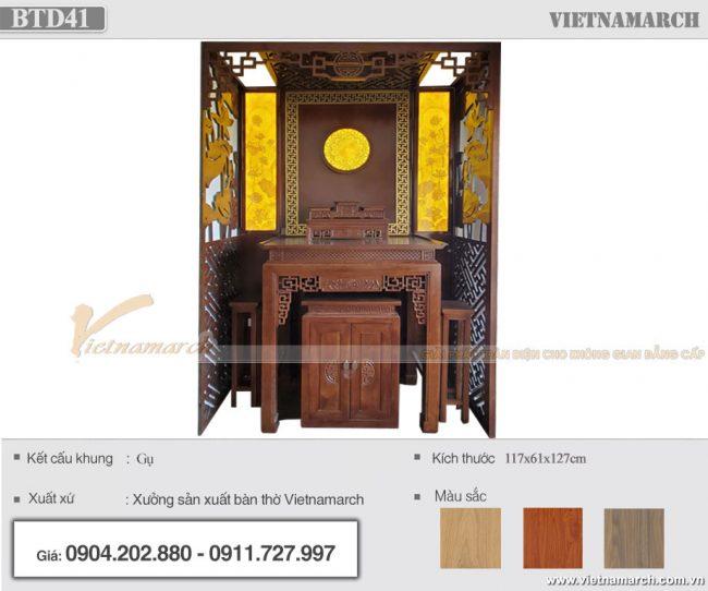 Bàn thờ đứng 1m17 gỗ gụ lắp đặt tại chung cư Hà Nội Homeland Long Biên - BTD41