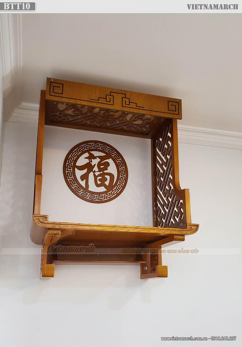 Mẫu ban thờ treo BTT10 gỗ sồi 48x69cm cho chung cư Tháp Thiên Niên Kỷ