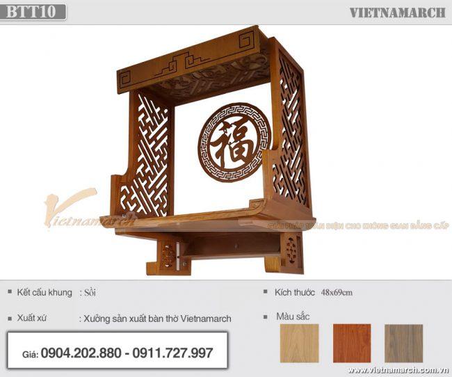 Bàn thờ treo gỗ sồi kích thước 48x69cm lắp đặt tại chung cư Tháp Thiên Kỷ - Mẫu BTT10
