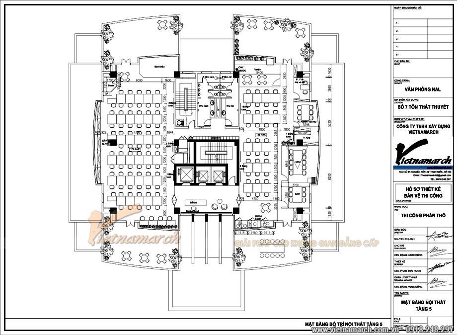 Bản vẽ thiết kế nội thất văn phòng 800m2 tại tầng 5 tòa nhà Bộ Kế hoạch và Đầu tư