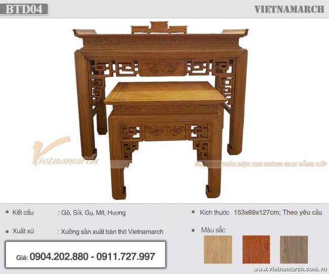 bàn thờ gỗ mít kích thước 153x69x127 sang trọng với tông màu cánh gián sáng đẹp