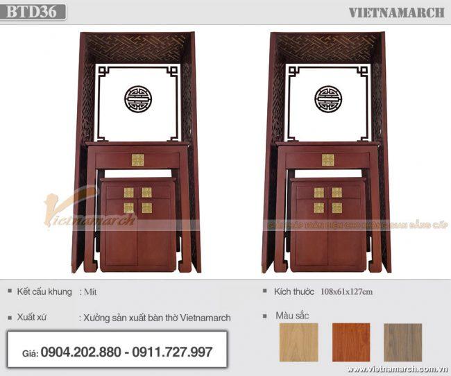 Mẫu bàn thờ đứng gỗ mít màu óc chó nâu kích thước 108x61x127cm - BTD36