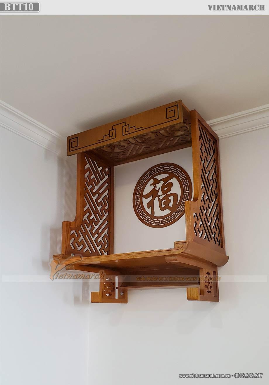 Mẫu ban thờ treo gỗ sồi cho chủ nhà mệnh Thủy