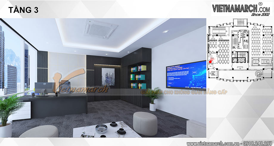 Thiết kế nội thất văn phòng 650m2 đẹp