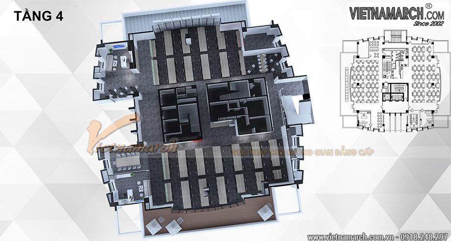 Phối cảnh tổng thể về dự án thiết kế nội thất văn phòng Viettel 700m2 tầng 4