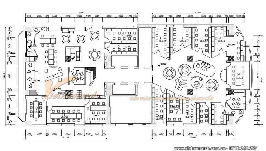 Bản vẽ thiết kế văn phòng 750m2