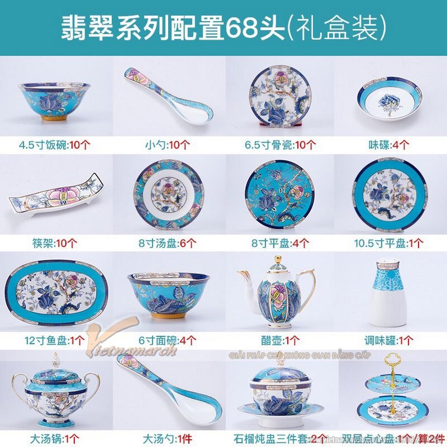 Trọn bộ bát đĩa Trung Quốc họa tiết công phượng