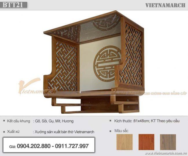 Mẫu bàn thờ treo gỗ sồi có vách ngăn