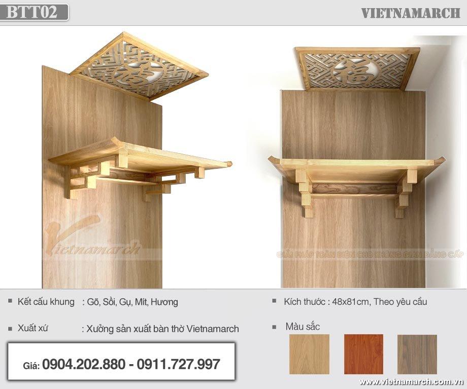 Đặc điểm nổi bật của mẫu bàn thờ BTT 02 được chọn cho dự án chung cư Hà Đông