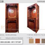 Lắp đặt bàn thờ gia tiên hiện đại  BTD 05 gỗ gõ kèm vách ngăn tại Văn Quán