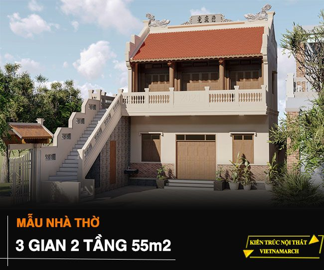 Mẫu nhà thờ 3 gian 2 tầng diện tích 55m2 tại Quảng Ngãi