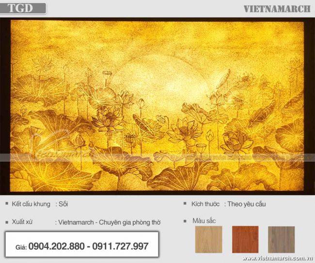 Mẫu tranh giấy dừa hoa sen hình chữ nhật