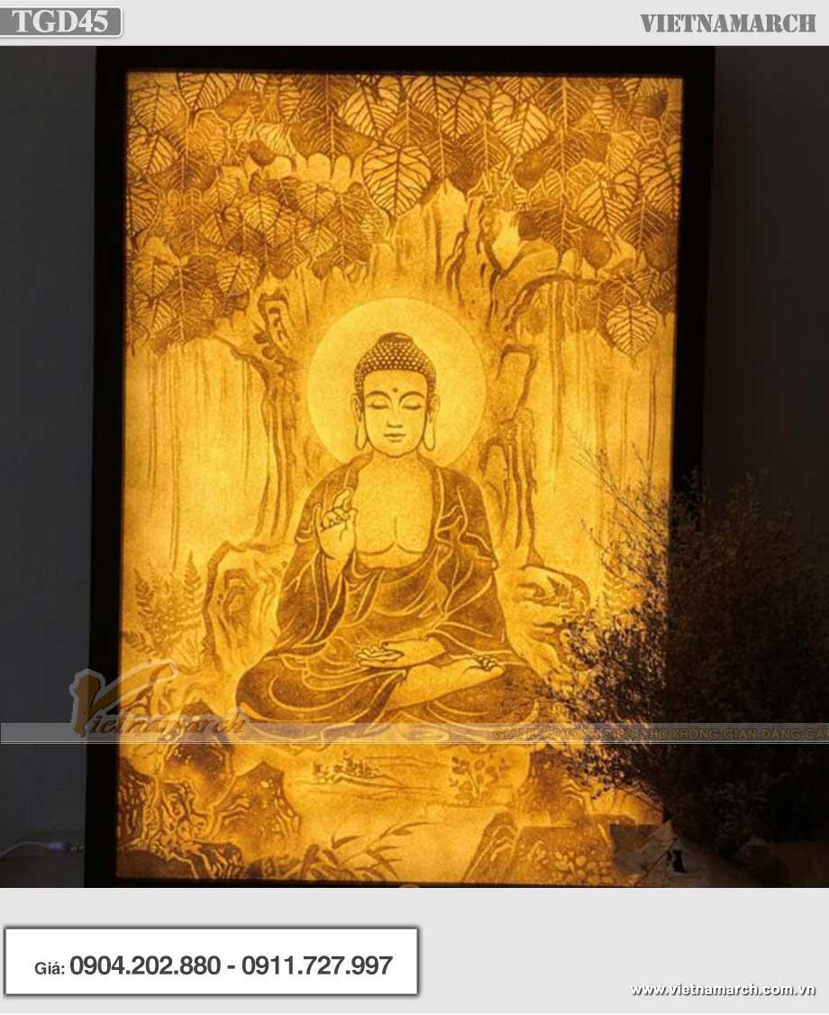 Mẫu tranh giấy dừa Phật ngồi dưới gốc bồ đề