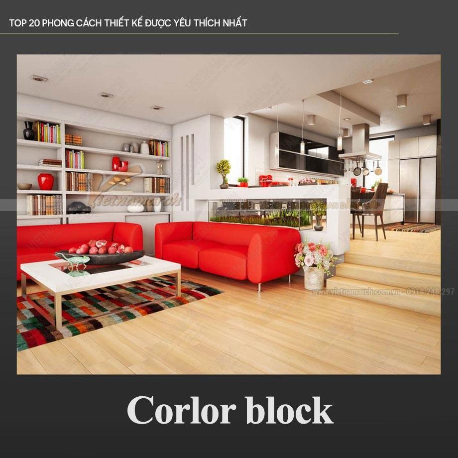 Phong cách thiết kế nội thất Color block trẻ trung