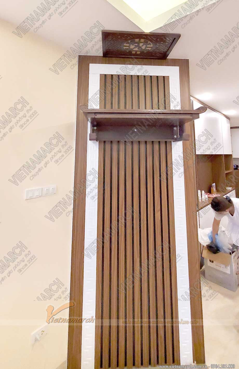 Mẫu bàn thờ treo đẹp BTT16 - Lựa chọn hàng đầu của các công ty thiết kế nội thất chung cư