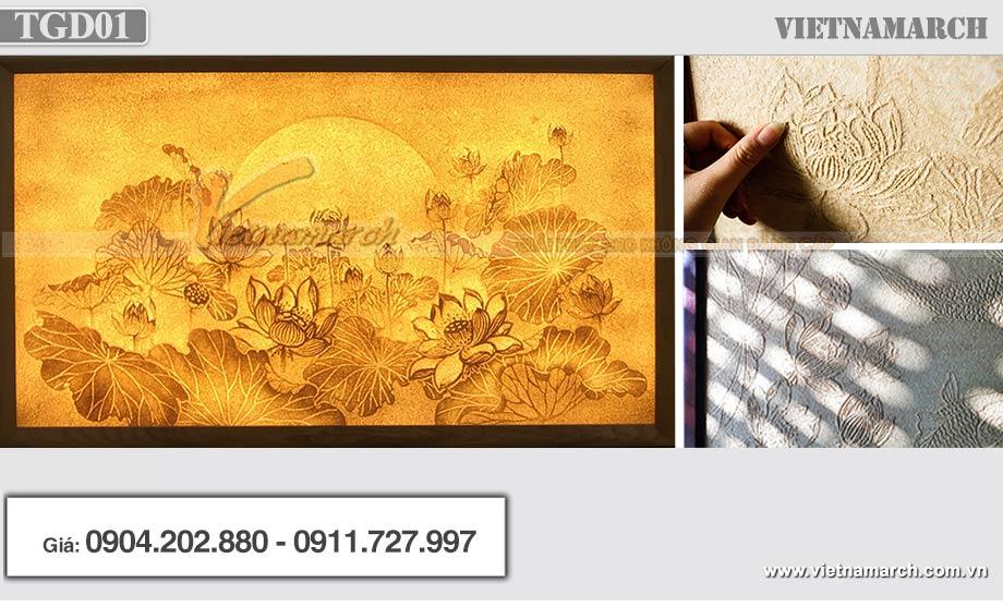 Tranh giấy dừa hoa sen kích thước 107x61cm