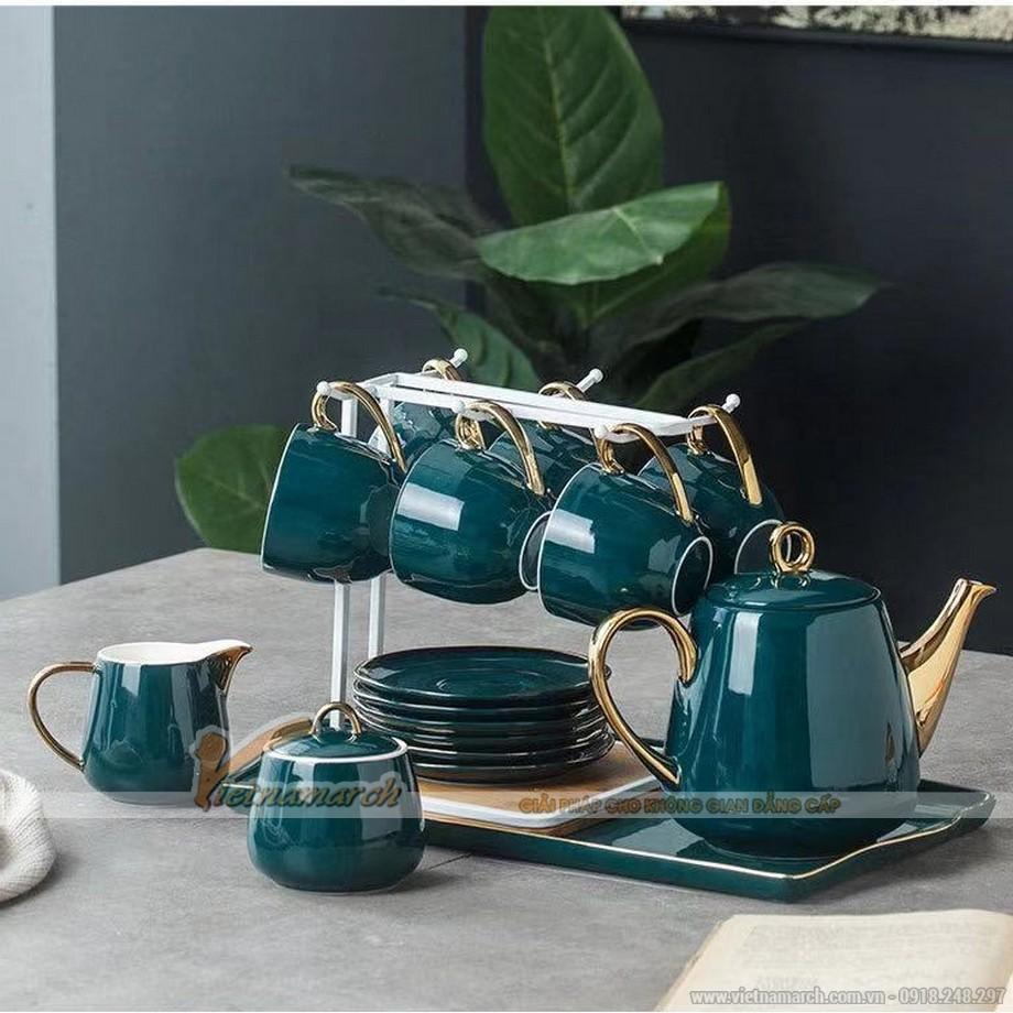 Bộ ấm trà sứ xanh ngọc lục bảo