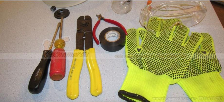Những vật dụng chuẩn bị lắp đèn ngủ treo tường