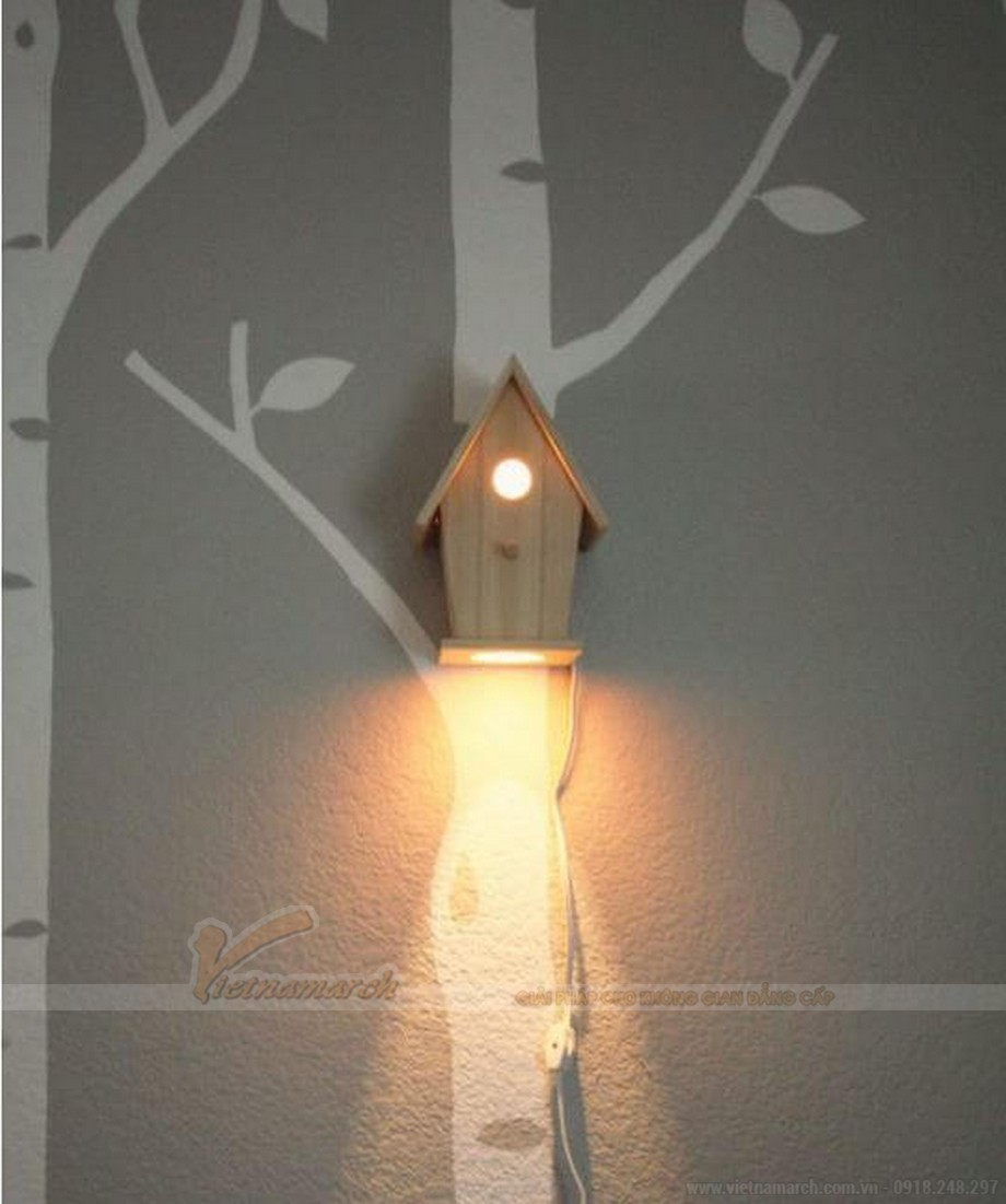 Đèn ngủ cho bé treo tường hình ngôi nhà gỗ
