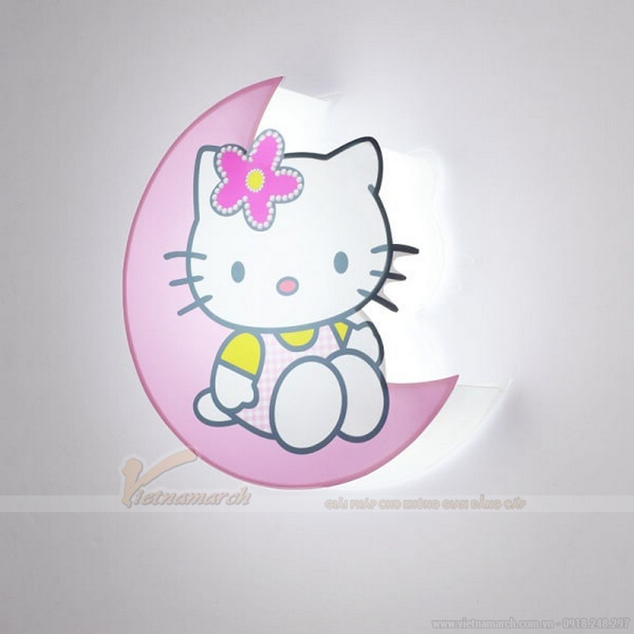 Đèn ngủ cho bé gái treo tường hình chú mèo Hello Kitty hồng