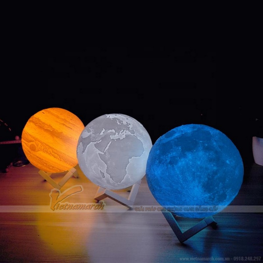 Đèn ngủ 3D Mặt trăng, Trái đất, sao Mộc khơi gợi sáng tạo, mong muốn khám phá vũ trụ