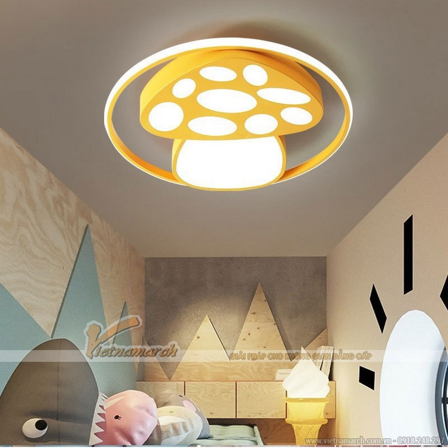 Đèn ngủ cho bé ốp trần hình cây nấm vàng
