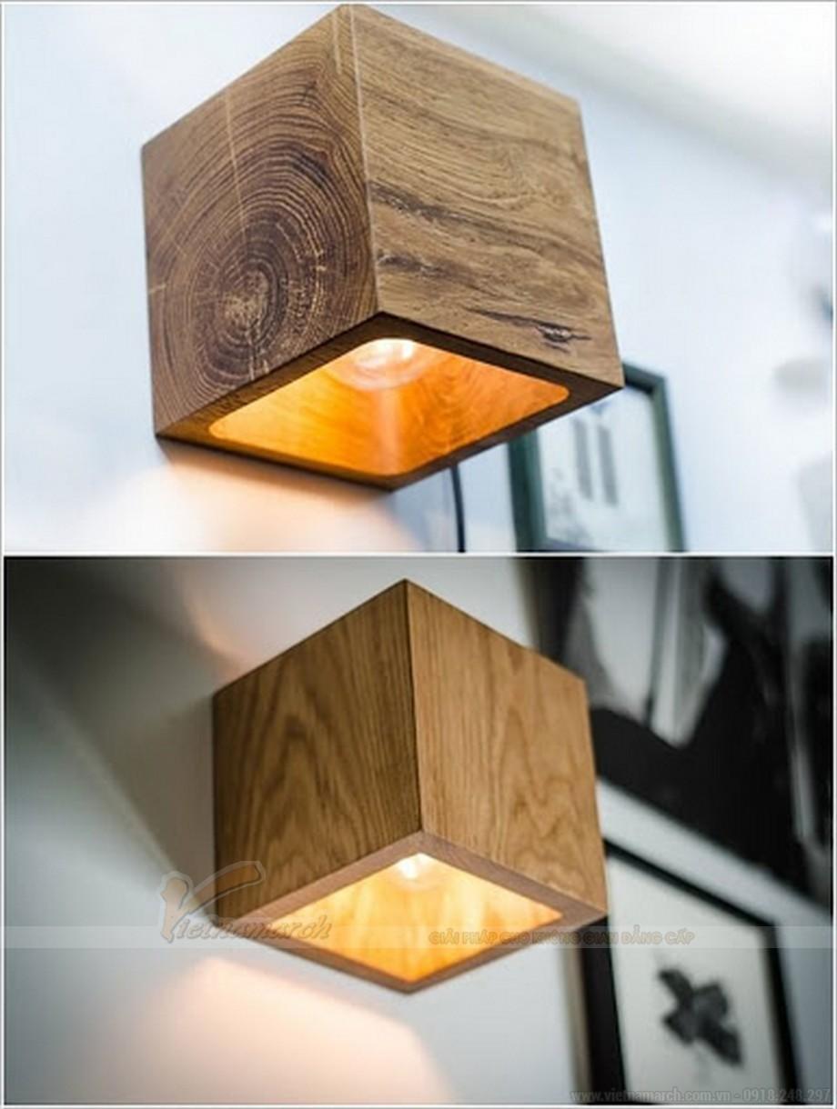 Đèn ngủ treo tường gỗ hình vuông đẹp mắt