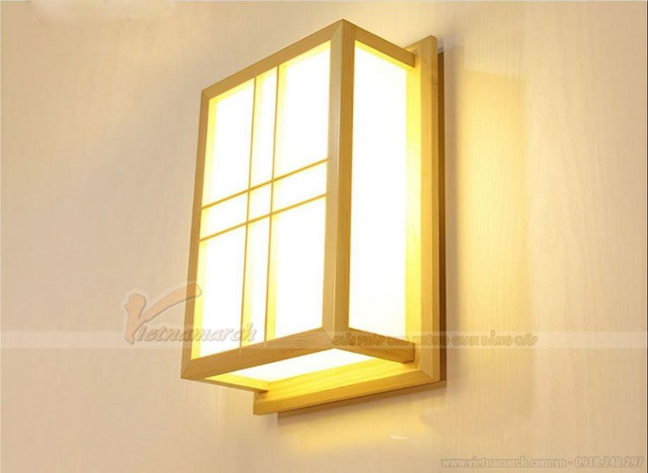 Đèn ngủ treo tường gỗ phong cách Nhật