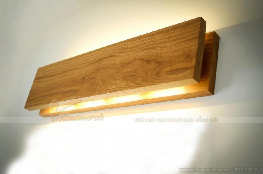 Đèn ngủ treo tường gỗ hình chữ nhật nằm ngang