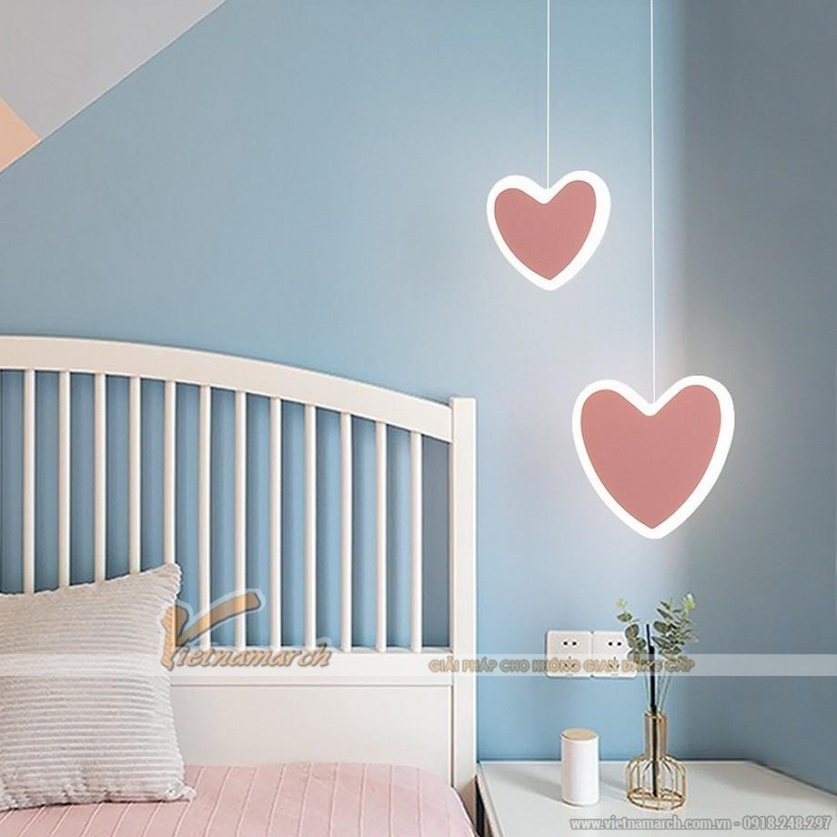 Đèn thả phòng ngủ cho bé trần bê tông hình trái tim