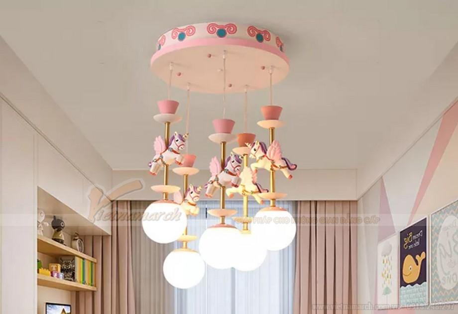 Đèn thả phòng trẻ em hình ngựa hồng dễ thương