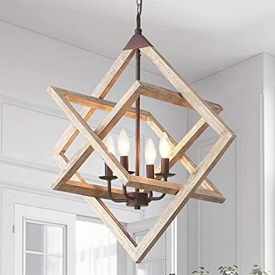 Đèn thả trần phòng ngủ phong cách nghệ thuật sáng tạo độc đáo trong thiết kế đến từ chất liệu gỗ – nguyên liệu nhập khẩu