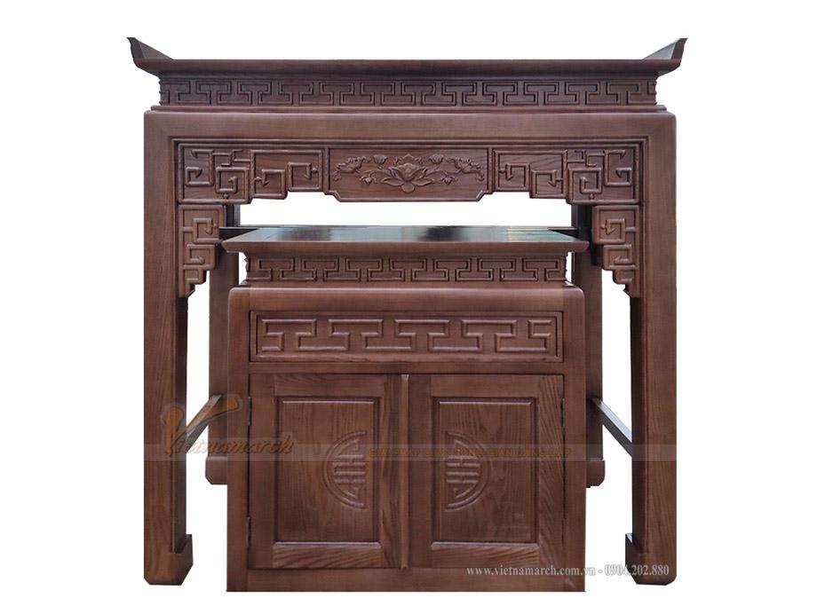 Mẫu bàn thờ đứng hoa sen có thiết kế tinh tế, đẹp ấn tượng