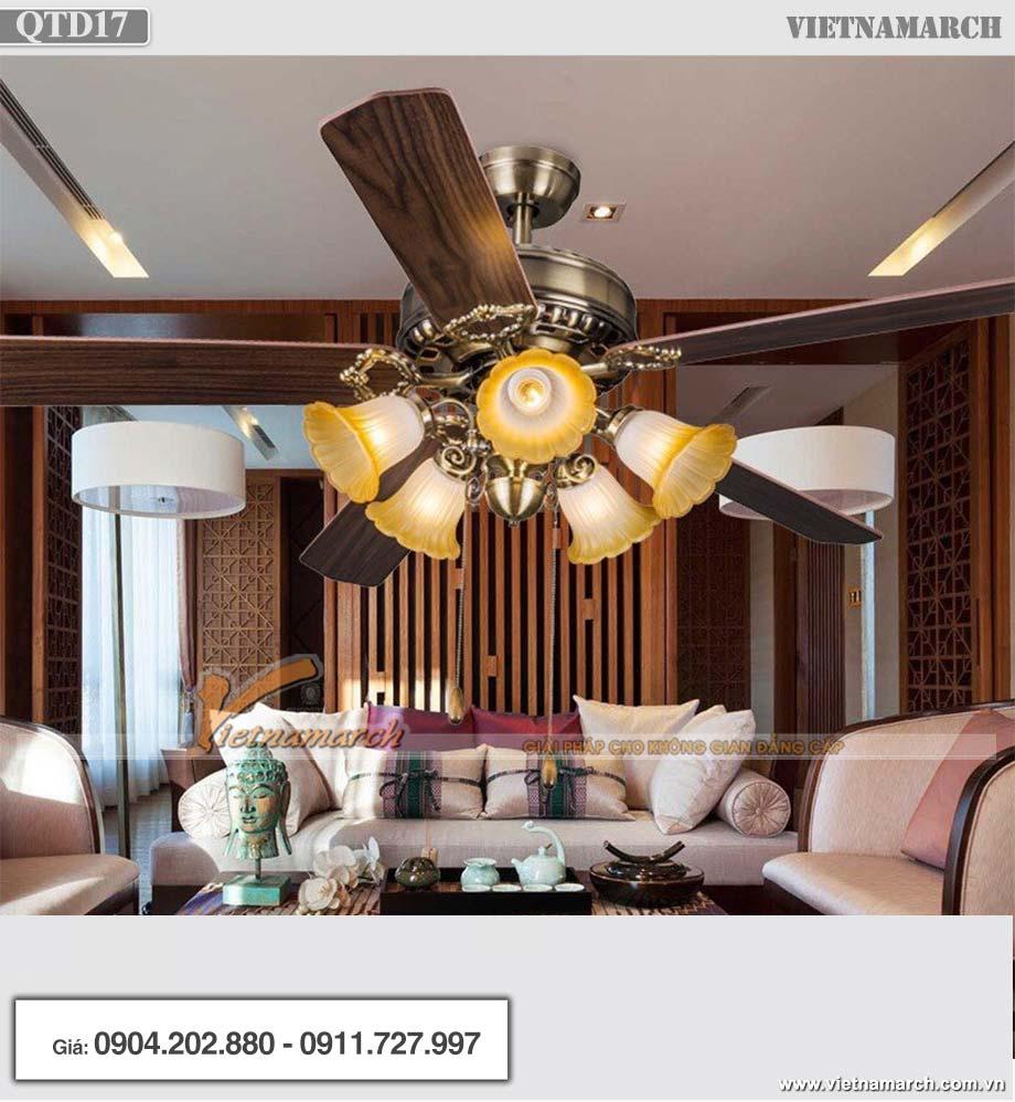 Mẫu quạt trần đèn chùm trang trí hiện đại