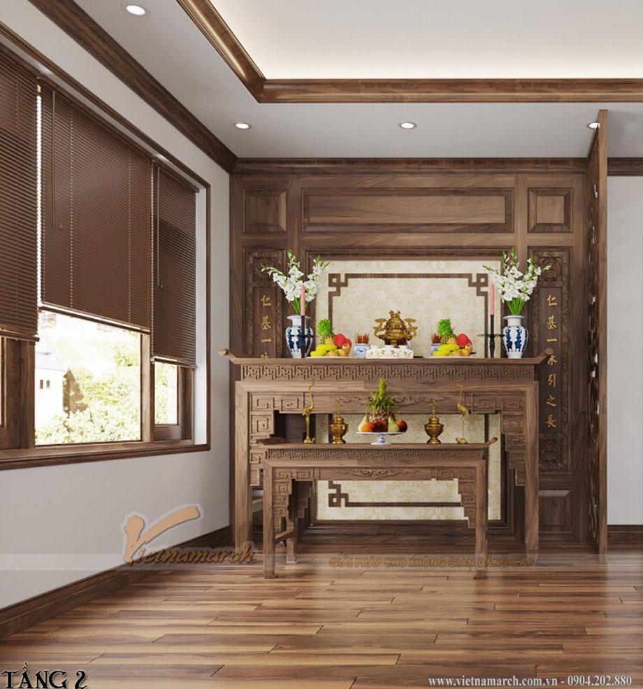 Mẫu phòng thờ gỗ sồi tại công ty sang trọng và đẳng cấp