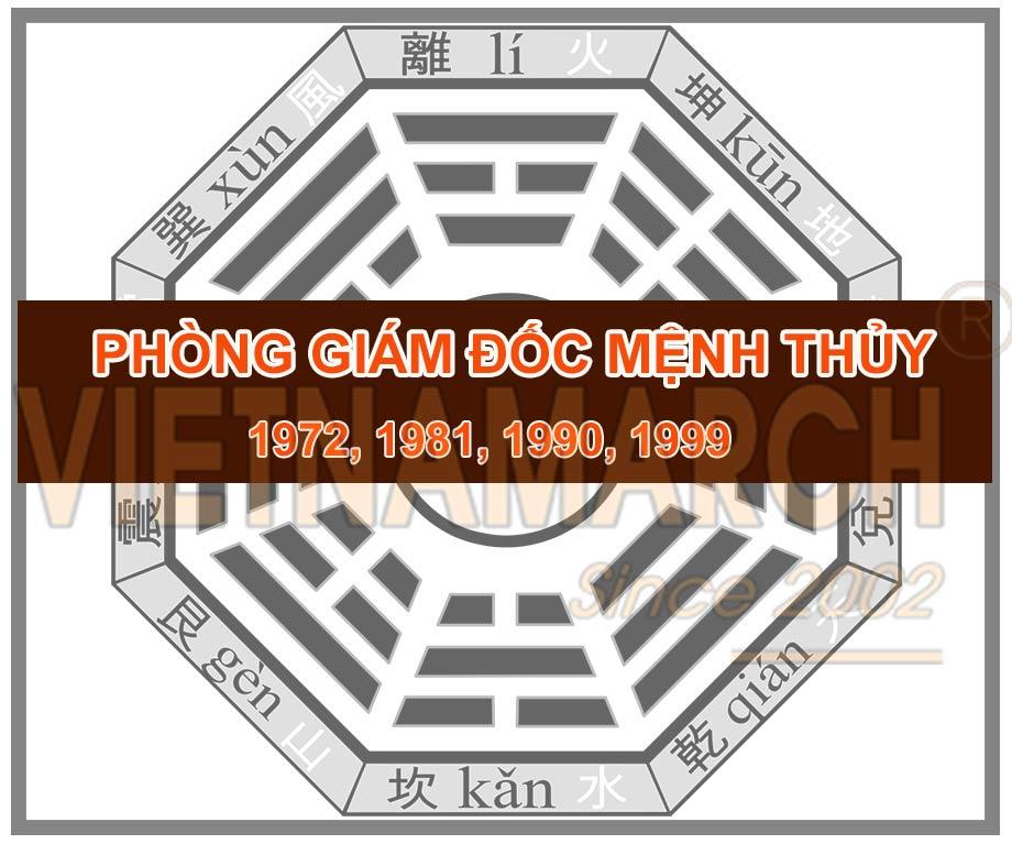 Thiết kế thi công phòng giám đốc mệnh Thủy - Nam sinh năm 1972, 1981, 1990, 1999