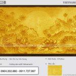 Tranh giấy dừa hoa sen mặt trời 107x68cm cho phòng thờ chung cư – Mẫu TGD02