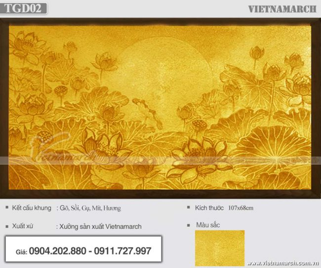 Tranh giấy dừa hoa sen mặt trời 107x68cm cho chung cư - Mẫu TGD02