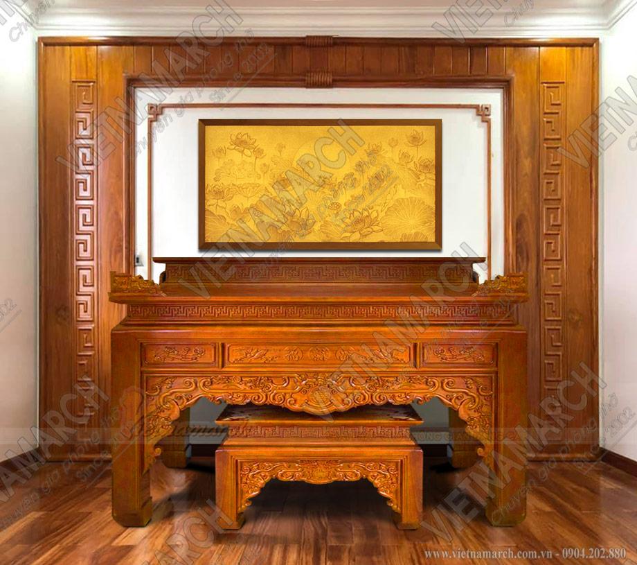 Mẫu tủ thờ 2 tầng gỗ gõ đẹp cho nhà lô, nhà phố, nhà ống