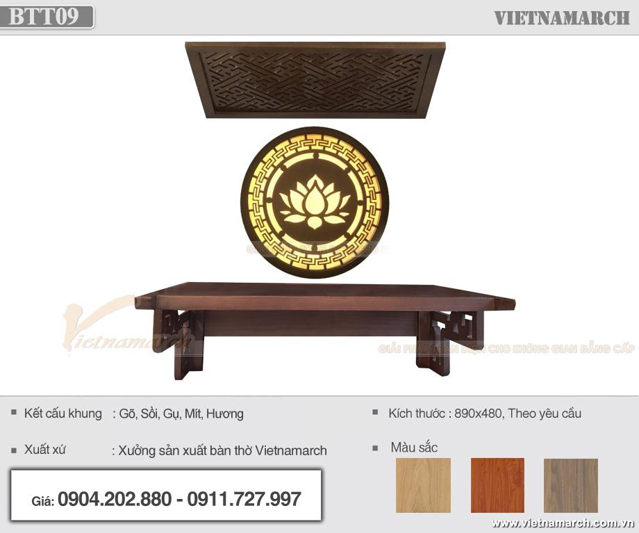Thông tin mẫu bàn thờ đơn giản hiện đại BTT 09 tại Hồ Chí Minh