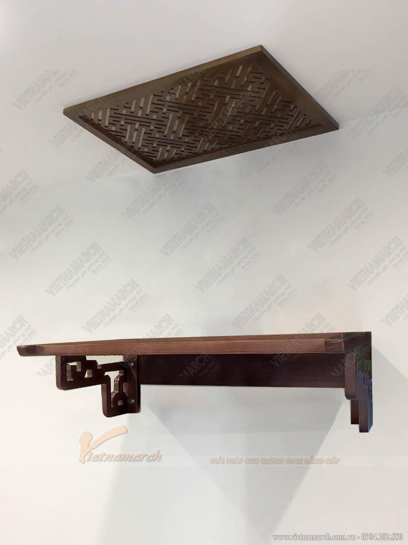 Mẫu bàn thờ đi kèm với tấm chắn ám khói họa tiết đơn giản