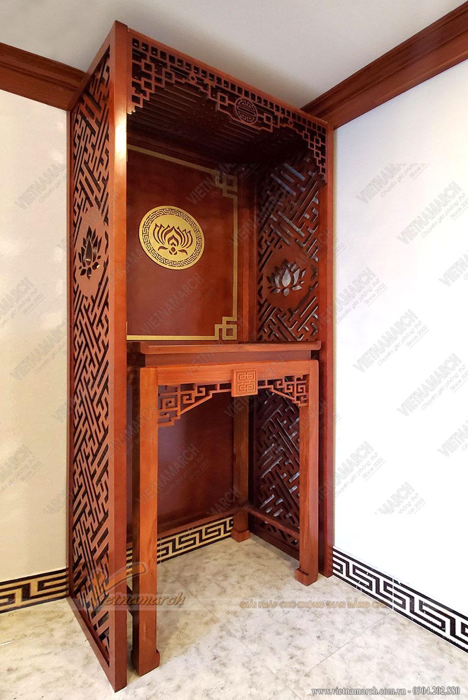 Mẫu ban thờ đứng đẹp gỗ gõ cho Chung cư