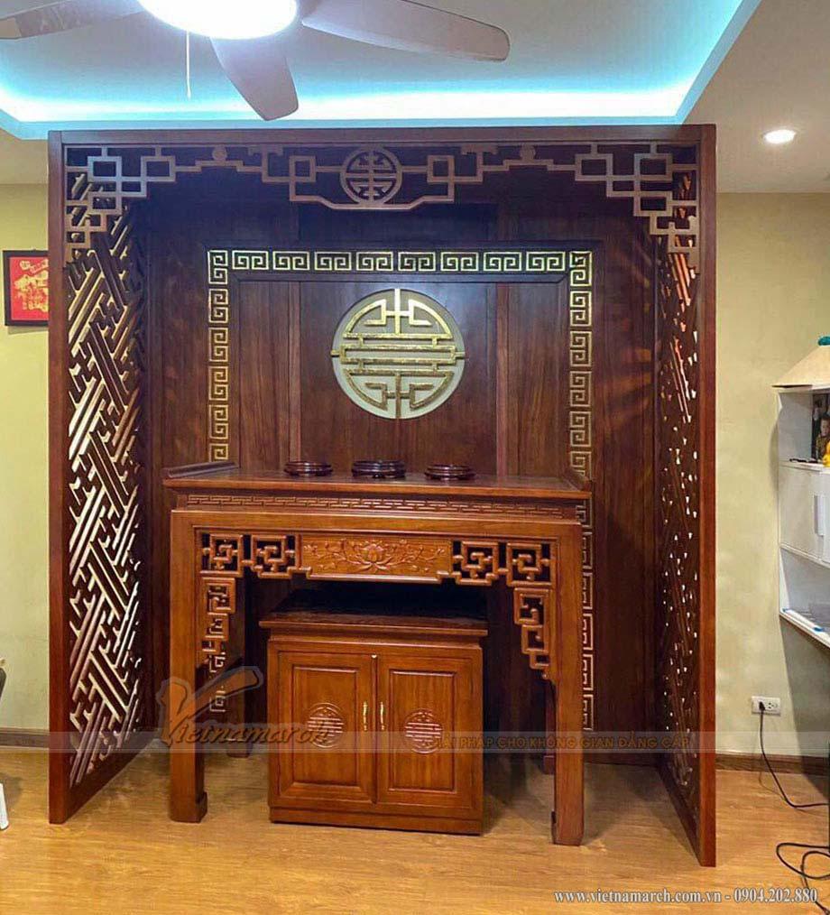 Mẫu bàn thờ đứng đẹp gỗ sồi cho chung cư Golden Park Tower