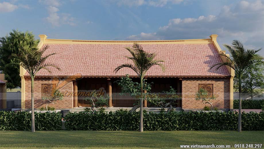 Mẫu thiết kế nhà thờ họ 5 gian bê tông giả gỗ 160m2 tại Thái Bình