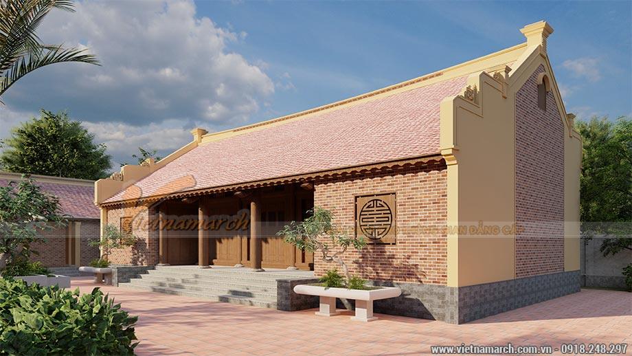 Mẫu thiết kế nhà thờ họ 5 gian bê tông giả gỗ
