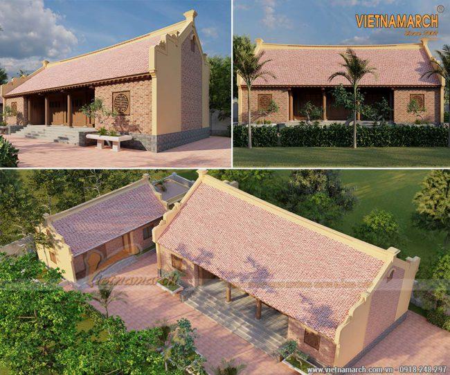 Mẫu thiết kế nhà thờ họ 5 gian bê tông giả gỗ 160m2 tại Tiền Hải Thái Bình